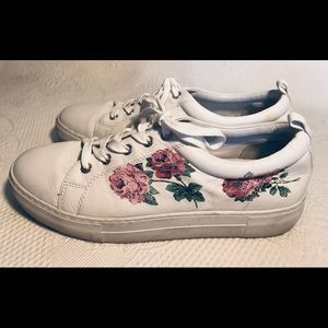 J/Slide leather sneakers with roses